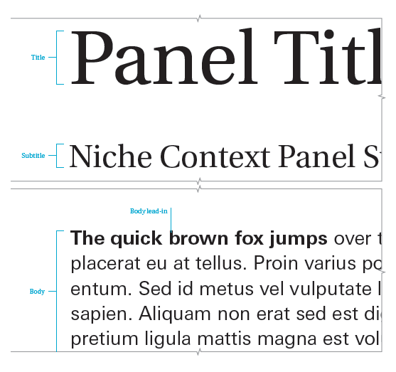 A representation of alcove context panel title, subtitle and body text
