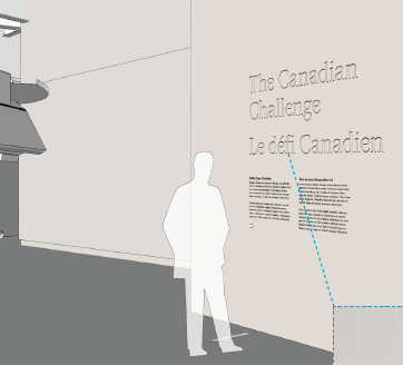 A representation of exhibit gallery body text for a standing visitor