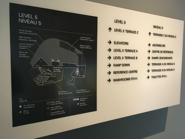 interior sign with map and directions